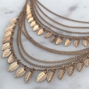 Jewelry - Boho Layered Gold Leaf Necklace